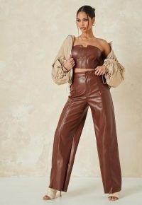 MISSGUIDED chocolate co ord faux leather wide leg trousers