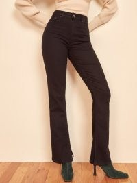 REFORMATION Cindy Bootleg Slit Hem ~ black denim split hem jeans