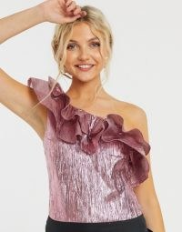 Collective the Label exclusive one shoulder body with double frill in metallic pink ~ shimmering evening tops ~ ruffled going out fashion
