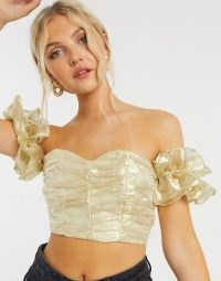 Collective the Label exclusive ruched crop top with volume sleeve in textured gold ~ luxe style bardot tops ~ glamorous off the shoulder fashion ~ evening glamour