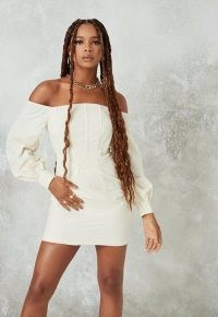 Missguided cream bardot corset detail mini dress ~ fitted-bodice off the shoulder dresses