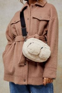 Topshop Cream Borg Double Pocket Cross Body Bag | faux fur crossbody bags