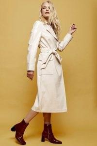 Topshop Cream Crocodile Trench | shiny self tie coats