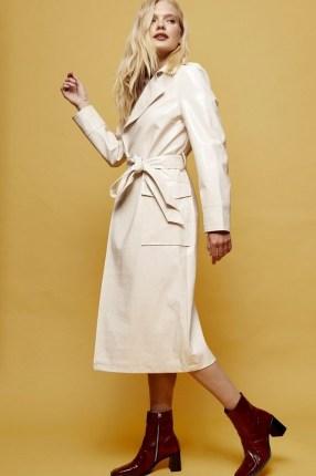 Topshop Cream Crocodile Trench   shiny self tie coats - flipped