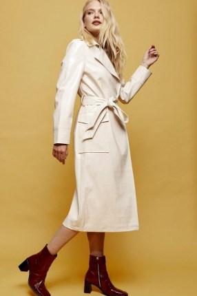 Topshop Cream Crocodile Trench   shiny self tie coats