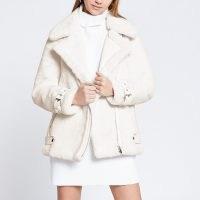 River Island Cream faux fur aviator jacket ~ luxe style winter jackets