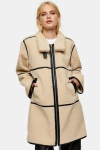 TOPSHOP Cream Jacket With Black PU Piping ~ textured winter jackets
