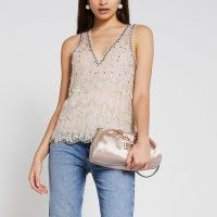 River Island Cream sleeveless embellished vest top | beaded vests | sequinned evening tops