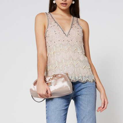 River Island Cream sleeveless embellished vest top | beaded vests | sequinned evening tops - flipped