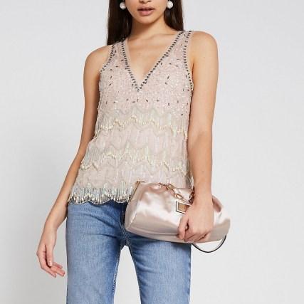 River Island Cream sleeveless embellished vest top | beaded vests | sequinned evening tops