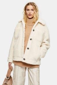 TOPSHOP Cream Teddy Borg Jacket / textured faux fur jackets