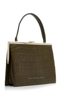 Chylak Croc-Effect Leather Top Handle Bag – green crocodile embossed top handle bags – chic vintage style hansbags