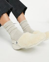 Crocs classic fuzz mania clogs in cream | fluffy footbed shoes
