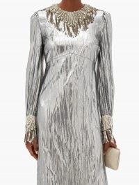 GUCCI Crystal-embellished lamé dress – silver evening dresses