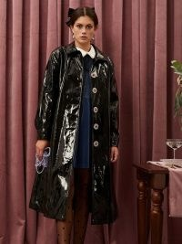sister jane Raise a Glass Trench Coat ~ black high shine embellished button coats