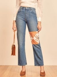 REFORMATION Cynthia Quilted Jean ~ patch detail jeans ~ patched denim