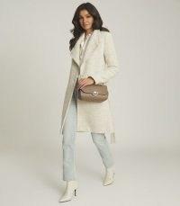 REISS DAHLIA TEXTURED FUNNEL NECK COAT GREY / self tie coats