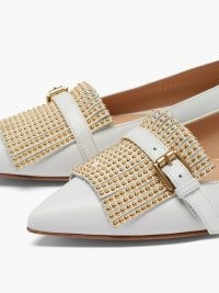 GIANVITO ROSSI Danielle studded-fringe leather loafers / stud detail loafer / light-grey pointed flats
