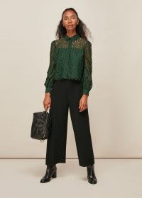 WHISTLES ANIMAL LACE SHIRT DARK GREEN / semi sheer shirts