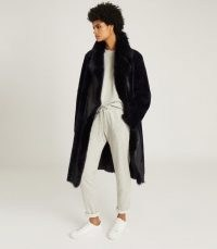 REISS DEMI LONGLINE SHEARLING COAT NAVY / luxury dark blue winter coats