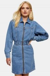 Topshop Denim Long Sleeve Zip Through Shirt Dress | casual blue dresses