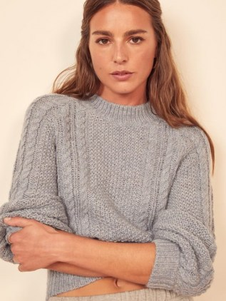Reformation Dita Cable Knit Sweater   blue mock neck sweaters - flipped