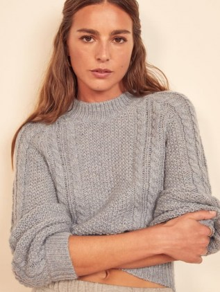 Reformation Dita Cable Knit Sweater   blue mock neck sweaters