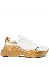 Dolce & Gabbana White and Gold Daymaster sneakers | sports luxe trainers