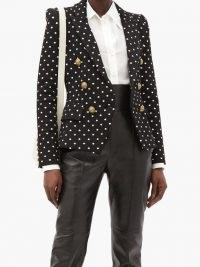 BALMAIN Double-breasted polka-dot canvas blazer / monochrome spot print blazers / designer jackets