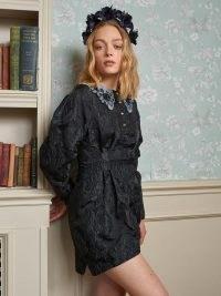 sister jane Courage Jacquard Mini Dress – beaded oversized collars – large collar dresses