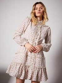 sister jane Rose Embellished Mini Dress / vintage floral prints / ruffled dresses