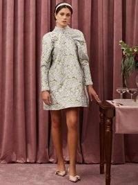 sister jane Table Talk Jacquard Mini Dress Lilac ~ romantic floral high neck dresses