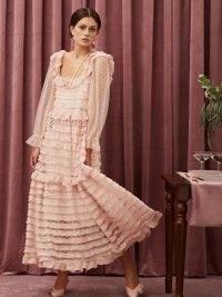 sister jane Small Talk Ruffle Midi Dress ~ pink romantic semi sheer dresses
