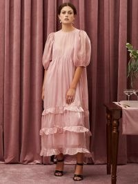 sister jane TABLE TALK Grapefruit Oversized Midi Dress ~ romantic pink frill trim evening dresses