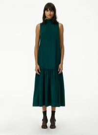 Tibi Eco Silk Dropwaist Dress ~ green sleeveless high neck dresses ~ drop waist style ~ high neck ~ frill hem