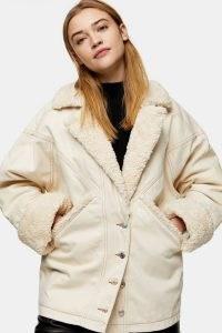 TOPSHOP Ecru Borg Denim Car Coat ~ part textured winter coats
