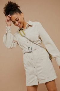 Topshop Ecru Denim Corduroy Shirt Dress | belted dresses