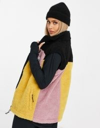 Eivy Lumberjackie sherpa gilet in multi ~ textured colour block gilets ~ sleeveless winter jackets