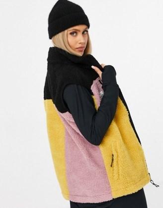 Eivy Lumberjackie sherpa gilet in multi ~ textured colour block gilets ~ sleeveless winter jackets - flipped