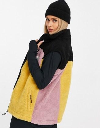 Eivy Lumberjackie sherpa gilet in multi ~ textured colour block gilets ~ sleeveless winter jackets