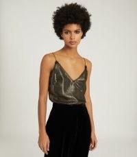 REISS ELIANNA METALLIC LACE-TRIM CAMI GOLD ~ shimmering camisoles