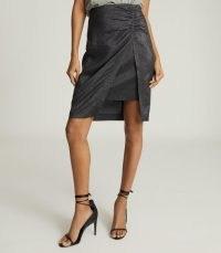 REISS ELIZA METALLIC PENCIL SKIRT BLACK ~ shimmering evening skirts