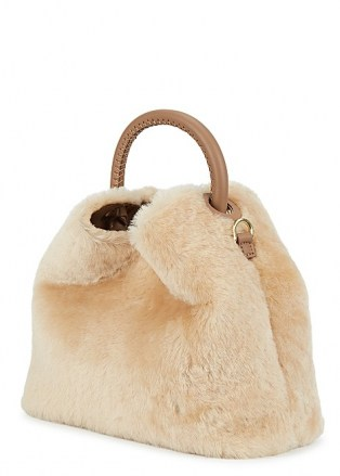 ELLEME Baozi cream shearling and leather cross-body bag / fluffy fur crossbody bags / winter accessories - flipped