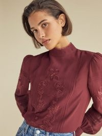 REFORMATION Emme Top in Plum ~ rich autumn / winter colours ~ victorian inspired tops ~ feminine high neck blouses
