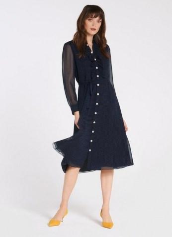 LK BENNETT ENSOR NAVY POLKA DOT SHIRT DRESS / dark blue spot print dresses - flipped