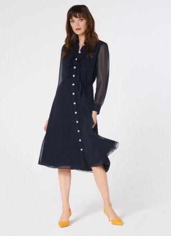 LK BENNETT ENSOR NAVY POLKA DOT SHIRT DRESS / dark blue spot print dresses
