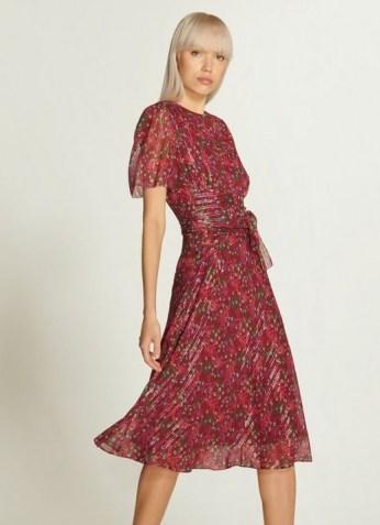 L.K. BENNETT EVE RED FLORAL PRINT SILK & LUREX DRESS / floaty metallic thread dresses - flipped