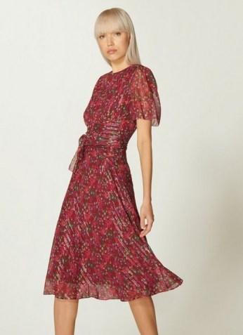 L.K. BENNETT EVE RED FLORAL PRINT SILK & LUREX DRESS / floaty metallic thread dresses