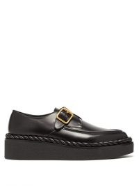 VALENTINO GARAVANI Exaggerated-sole leather loafers | black rope trim flatform loafer