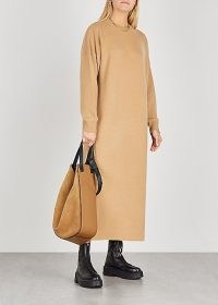 EXTREME CASHMERE No. 106 Weird camel cashmere-blend jumper dress ~ ankle length knitted dresses